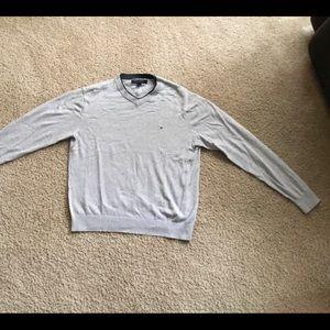 Tommy Hilfiger gray v-neck sweater